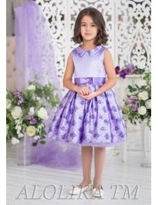 Платье нарядное сиреневое с узорами Бонита роуз