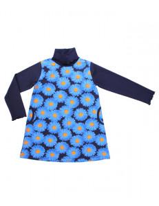 """Платье с длинным рукавом синего цвета """"герберы"""""""