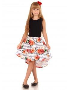 """Платье с асимметричной юбкой """"Ноты и розы"""""""
