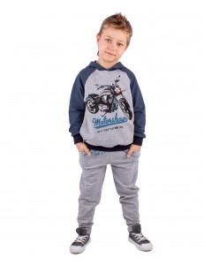 """Комплект для мальчиков серого цвета (брюки+джемпер) """"Мотошоу"""""""