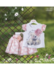 Комплект летний bebus розового цвета с мишкой (юбка и блуза)