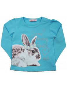 """Футболка голубая на девочку с длинным рукавом """"кролик"""""""