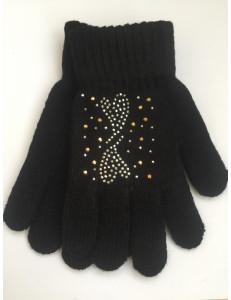 Перчатки осенние черного цвета с узором из страз