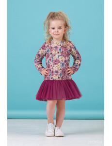 """Платье с длинным рукавом брусничного цвета """"Цветы"""""""
