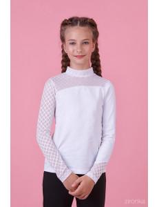 """Блузка белого цвета с воротником стойка """"Стиль альтернатива"""""""