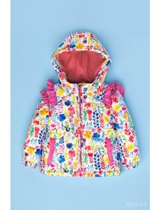 """Куртка для девочки розового цвета с рюшами """"Мишель и Мо"""""""